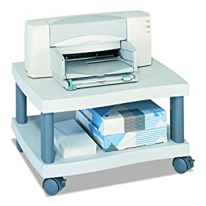 Safco Products Wave Underdesk Printer Stand 1861GR, Gray Powder Coat Finish, Swivel Wheels for Mobility, 50 lb. Capacity
