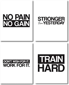 My Vinyl Story G5 Set of 4 Motivational Gym Wall Art Print Poster Inspirational Quote Decor for Modern Abstract Home Office Classroom Decoration Encouragement Gift