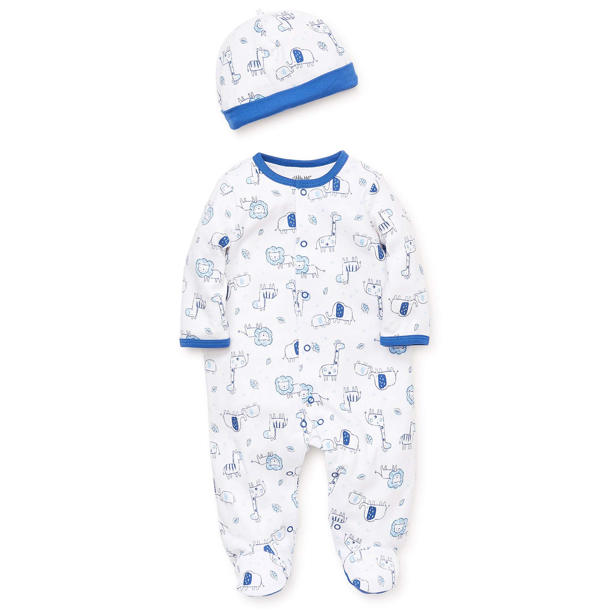 Little Me Blue Safari Footie and Hat - Newborn by Little Me