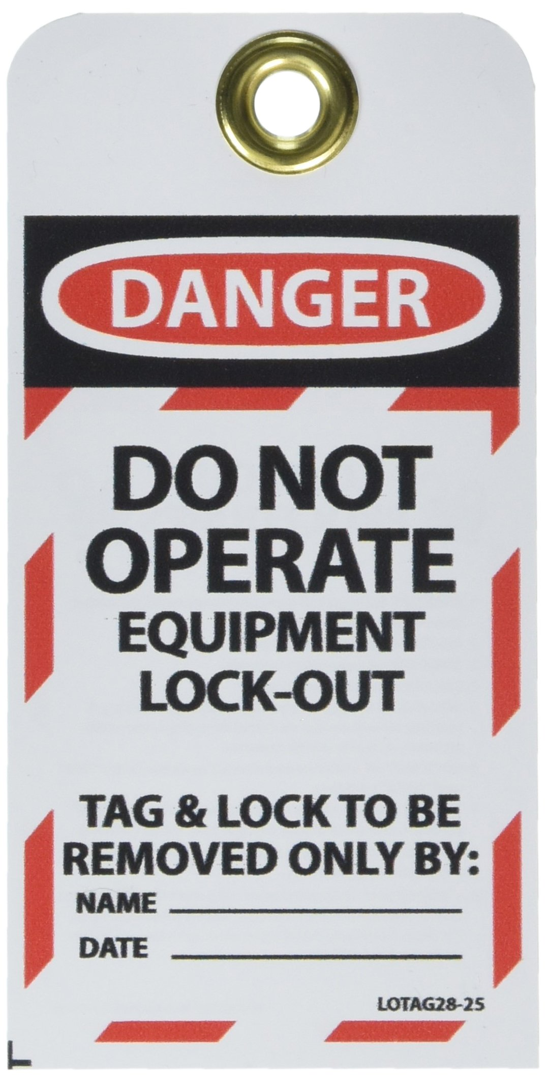 NMC LOTAG28-25''Danger - DO NOT Operate EUIPMENT Lock-Out'' Lockout Tag, Unrippable Vinyl, 3'' Length, 6'' Height, Black/Red on White (Pack of 25) by NMC