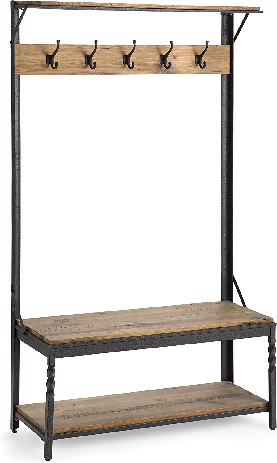 Plow & Hearth Deep Creek Coat Rack Hall Tree with Bench Seat and Five Hanger Hooks with Reclaimed Rustic Wood Surfaces and Metal Frame with Twisted Accents
