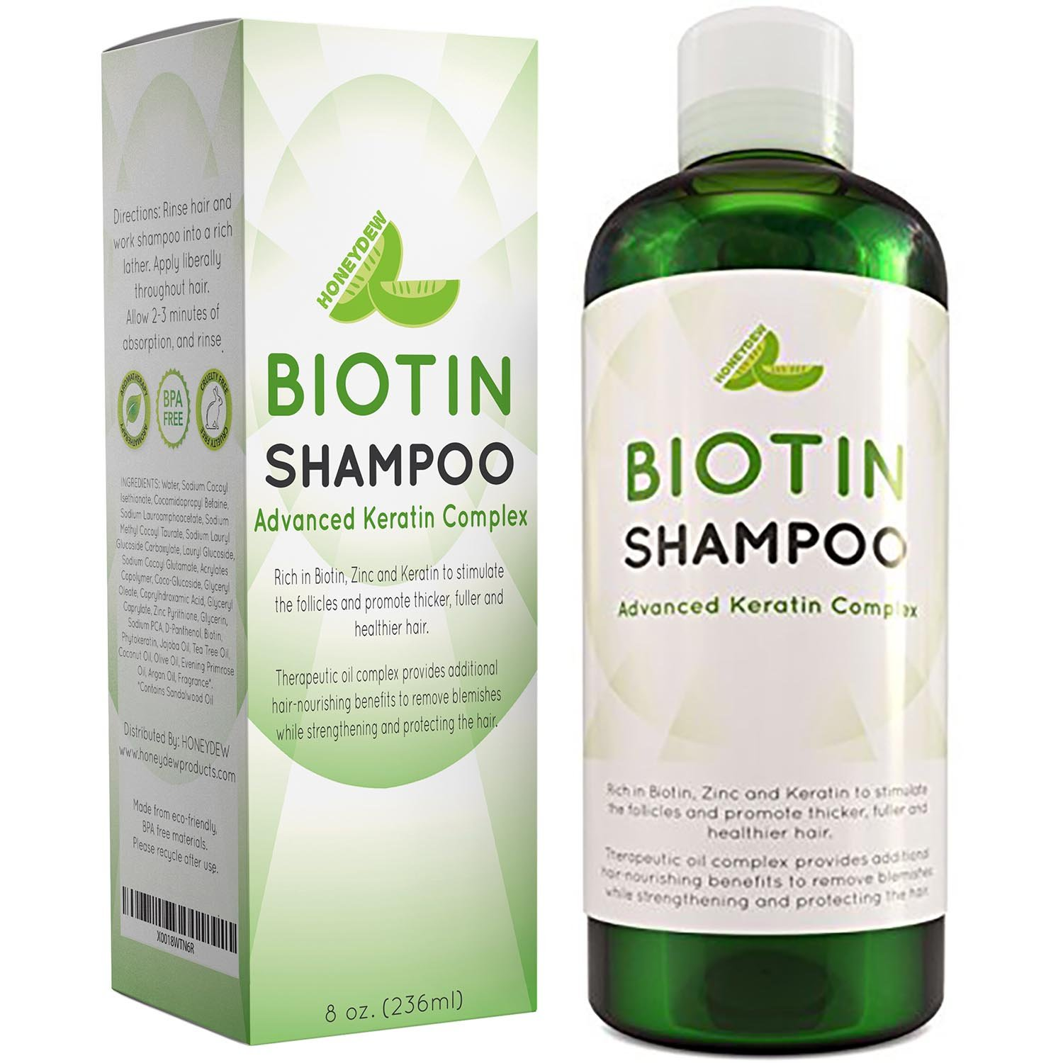 Hair Loss Shampoo for Men and Women - DHT Blocker - Biotin for Hair Growth and Regrowth Treatment - Thicker Fuller Hair Revitalizing Shampoo - Improve Circulation Scalp - Dandruff Shampoo Sulfate Free by Honeydew