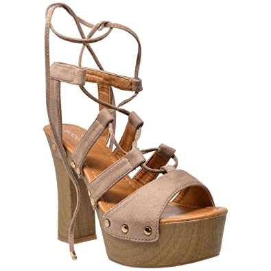 ac513174e6e SOBEYO Womens Platform Sandals Gold Studded Lace Up Wood Chunky High Heel  Shoes Taupe SZ 10