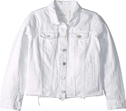 61c42590c0b Amazon.com  Blank NYC Kids Girl s White Jean Jacket with Raw Hem Detail in  Lightbox White (Big Kids) Lightbox White Small  Clothing
