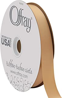 "product image for Berwick Offray 7/8"" Wide Double Face Satin Ribbon, Oatmeal Brown, 100 Yards"