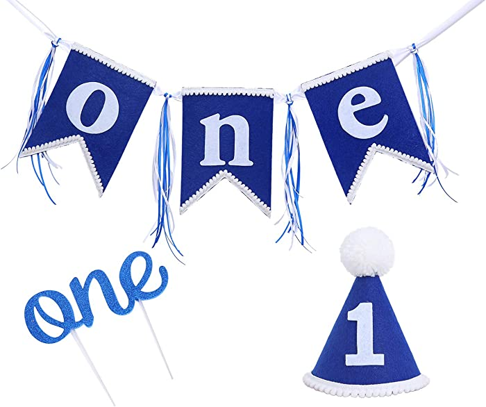 1st Birthday Decorations for Baby Boy - Include First Birthday Hat,One Birthday Banner,One Cake Topper,First Birthday Decorations for Photo Booth Props (Blue one party decor)