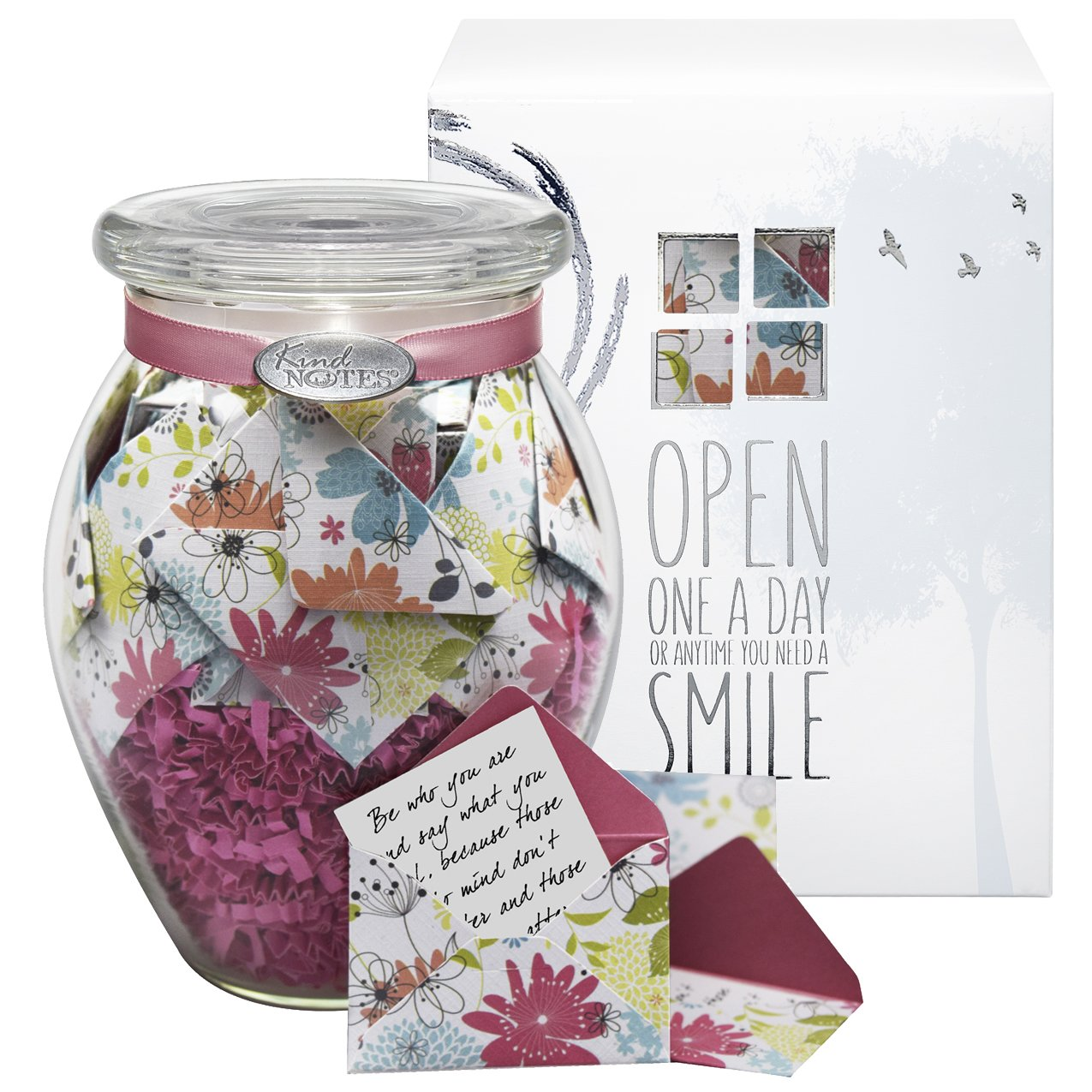 KindNotes Glass LONG DISTANCE RELATIONSHIP Keepsake Gift Jar of Messages for Him or Her Birthday, Anniversary, Just Because - Refreshing Floral