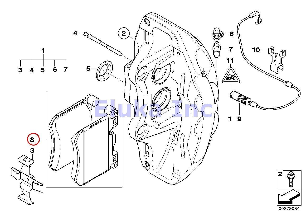 BMW Genuine Front Brake Pad Service Set X5 M X6 M X5 35dX X5 35i X5 35iX X5 50iX
