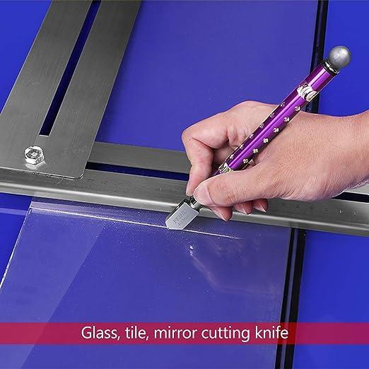 Espejo Carburo de Tungsteno Mango de Ergonom/ía 4-15 mm self-oiling adecuado para Vidrio baldosas WEKON 2 Pcs Cortavidrios Cortador de Vidrio