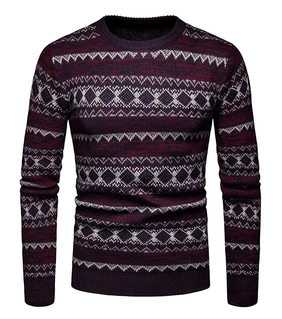 Suncolor8 Mens Knit Crewneck Slim Fit Casual Print Long Sleeve Pullover Sweater