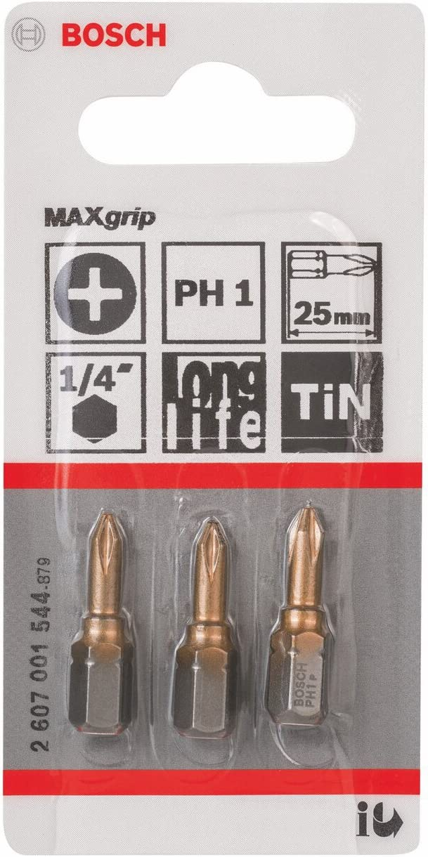 PH 1 Bosch 2 607 001 544 25 mm Punta de atornillar Max Grip pack de 3