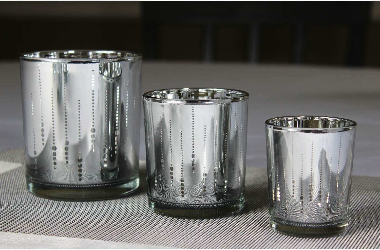 Seraphic Glass Votive Tea Light Candle Holders Silver Light Beam Set of 3