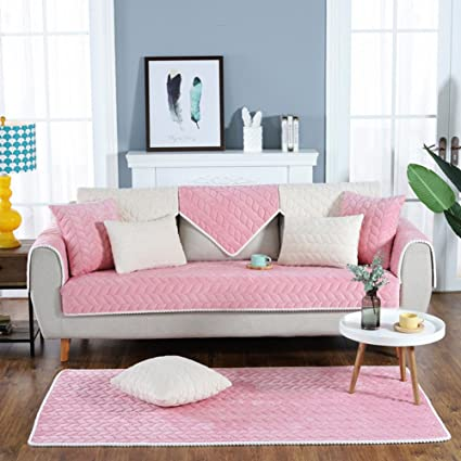 Amazon.com: Short Plush Sofa cover Quilted Sofa slipcover Sectional ...
