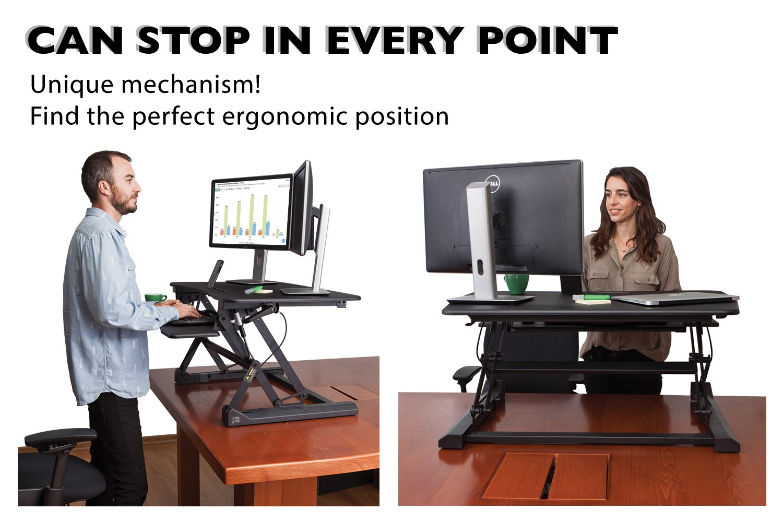 "G-PACK PRO -Desktop Standing Desk Converter - Ergonomic Desk Converter Riser Stand for Sit-To-Stand Work - Adjustable 35"" Standing Desk Monitor Riser - Fits Dual Monitor - Removable Keyboard Tray by G-Pack Pro (Image #4)"