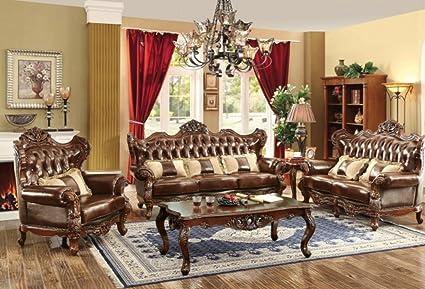 Amazon.com: Furniture America Jericho CM6786 Brown Leather Living ...
