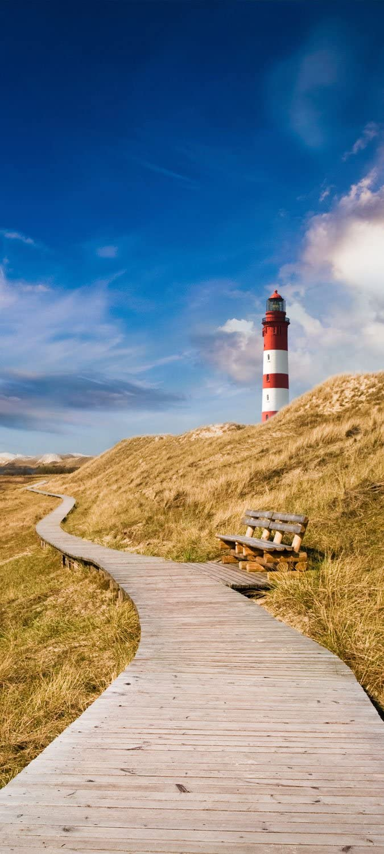 Door Wallpaper Lighthouse With Wooden Path Tt233 90x200 Cm Sea Beach Path Amazon De Kuche Haushalt
