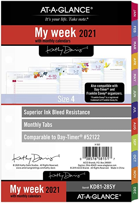 "2021 Weekly & Monthly Planner Refill by AT-A-GLANCE, 52122 Day-Timer, 5-1/2"" x 8-1/2"", Size 4, Kathy Davis (KD81-285Y-21)"