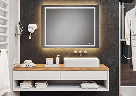 Badspiegel Badezimmer Spiegel Mit Loox Led Beleuchtung Spiegelheizung Soundsystem Wandspiegel Multifunktional Modell Aquasys 900 X 900 Mm Gedotec Powered By Hafele Amazon De Kuche Haushalt