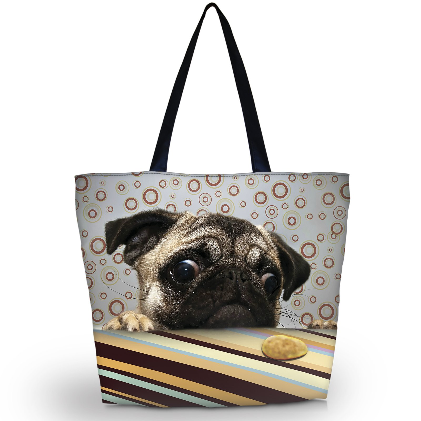 Newplenty Ladies Zippered Light Shoulder Shopping Tote Bag Handbag Beach Satchel (Lazy Pug)