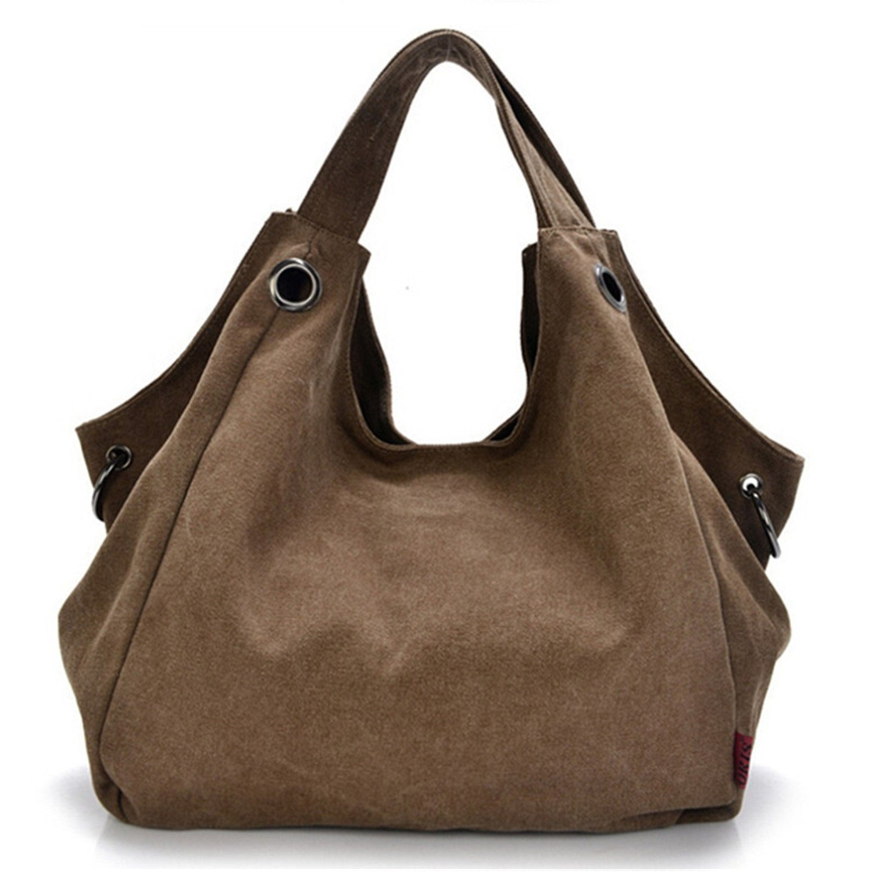 Tiny Chou Pure Color Women's Vintage Simple Style Canvas Tote Handbag Hobo Shoulder Bag Crossbody Bag
