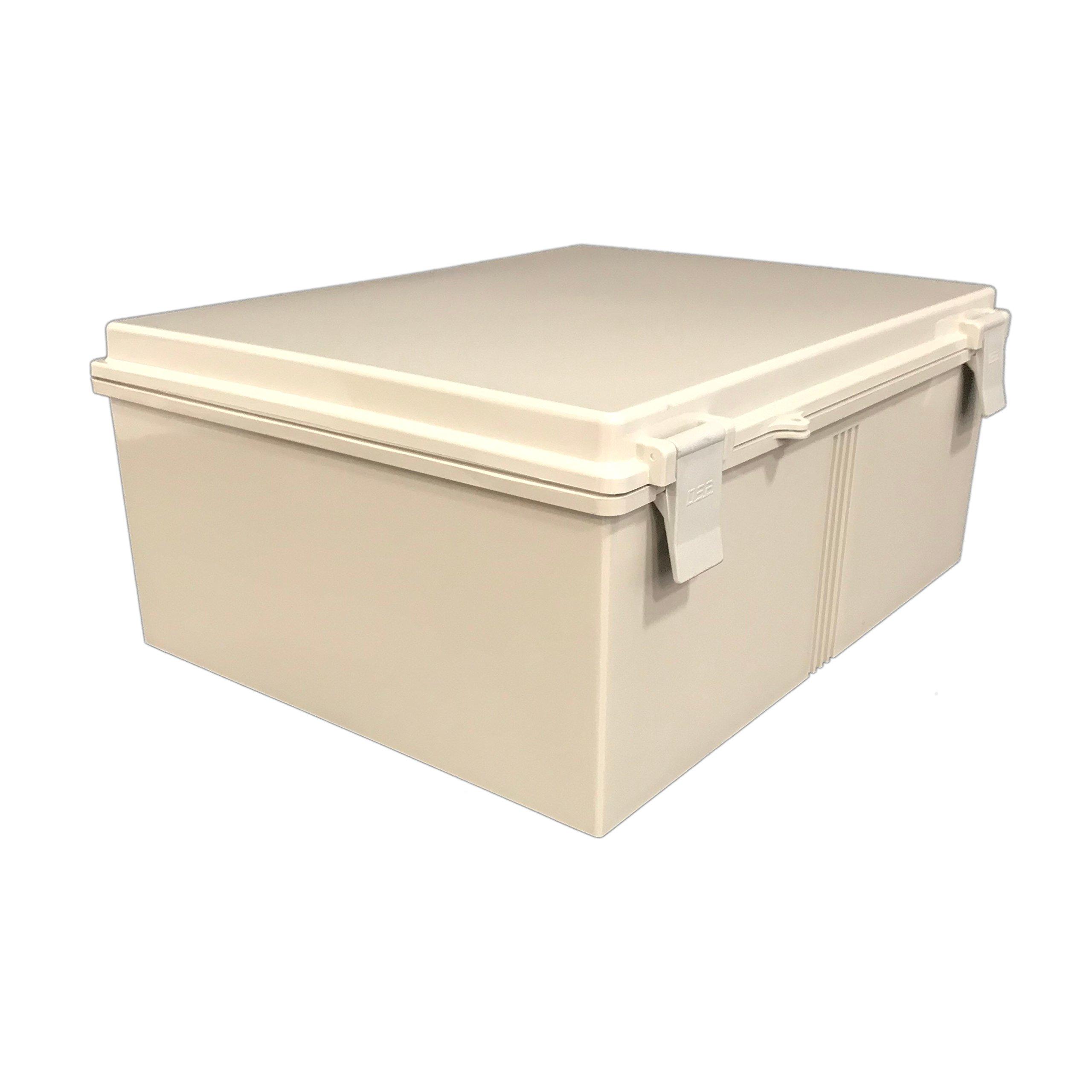 BUD Industries NBB-22253 Style B Plastic NEMA Box with Solid Indoor, 19-63/64'' Length x 14-5/8'' Width x 7-27/32'' Height, Light Gray Finish