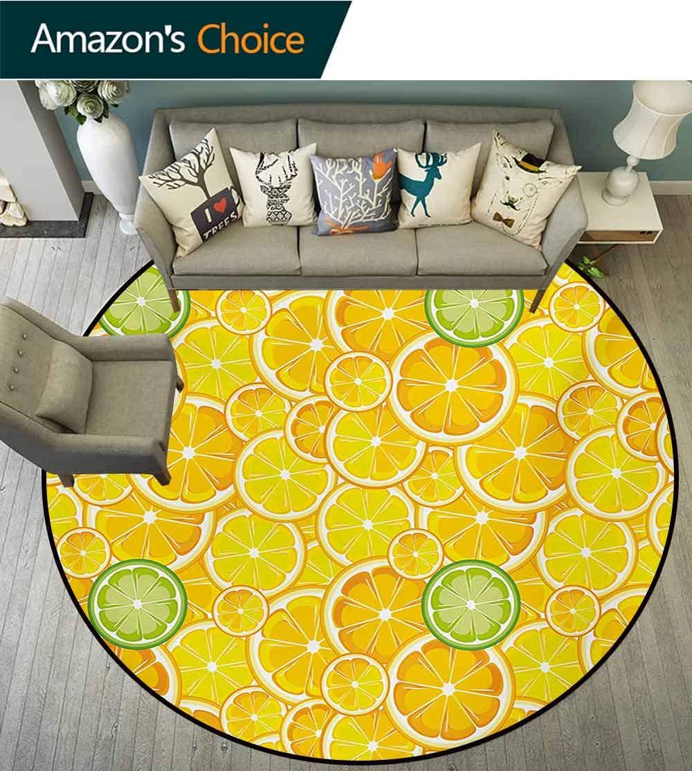 RUGSMAT Yellow Modern Machine Round Bath Mat,Lemon Orange Lime Fruit Citrus Round Cut Circles Big and Small Pattern Non-Slip No-Shedding Kitchen Soft Floor Mat,Round-47 Inch Yellow White and Green