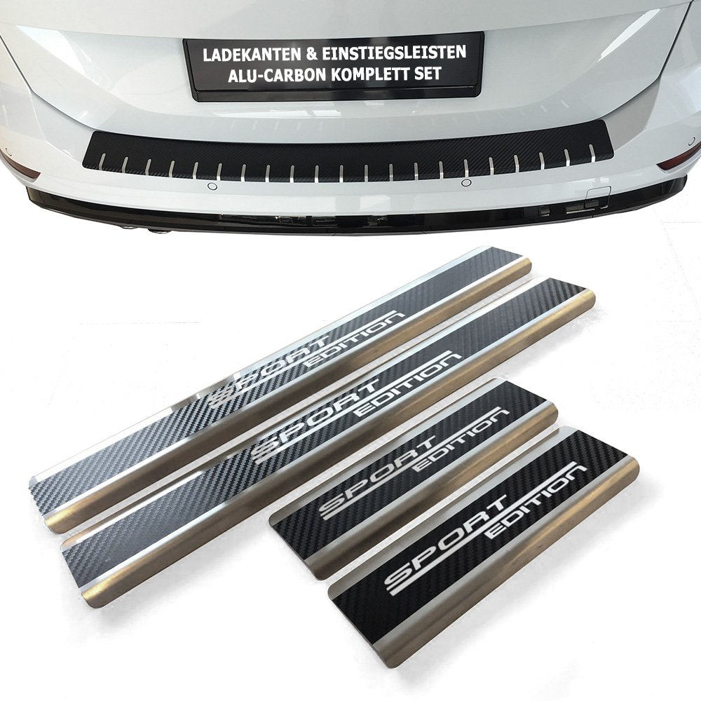 Set: Stainless Steel & Aluminium Sills Scuff Plate Door Sill For Toyota Auris Touring Sports from Build Year 2017  with Carbon Tuneon