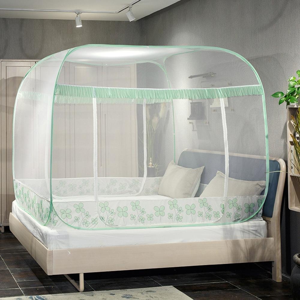 Ludage Non-Installation Jurten Square Top drei offenen Bett Moskitonetze