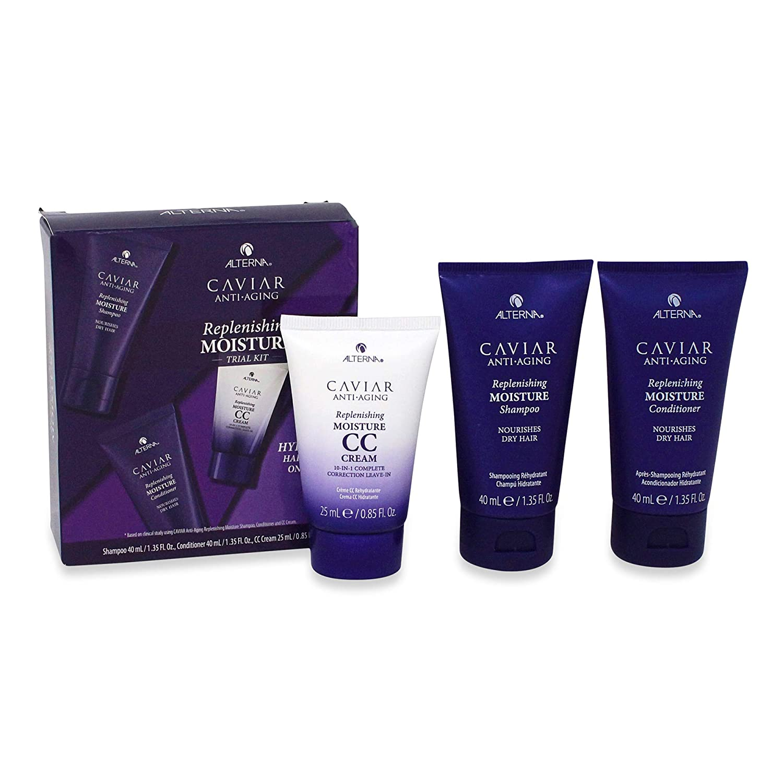 Alterna Caviar Anti-Aging Shampoo-Conditioner-CC Cream Kit Replenishing Moisture1.35-1.35-0.85 Ounce 40-40-25 Gram