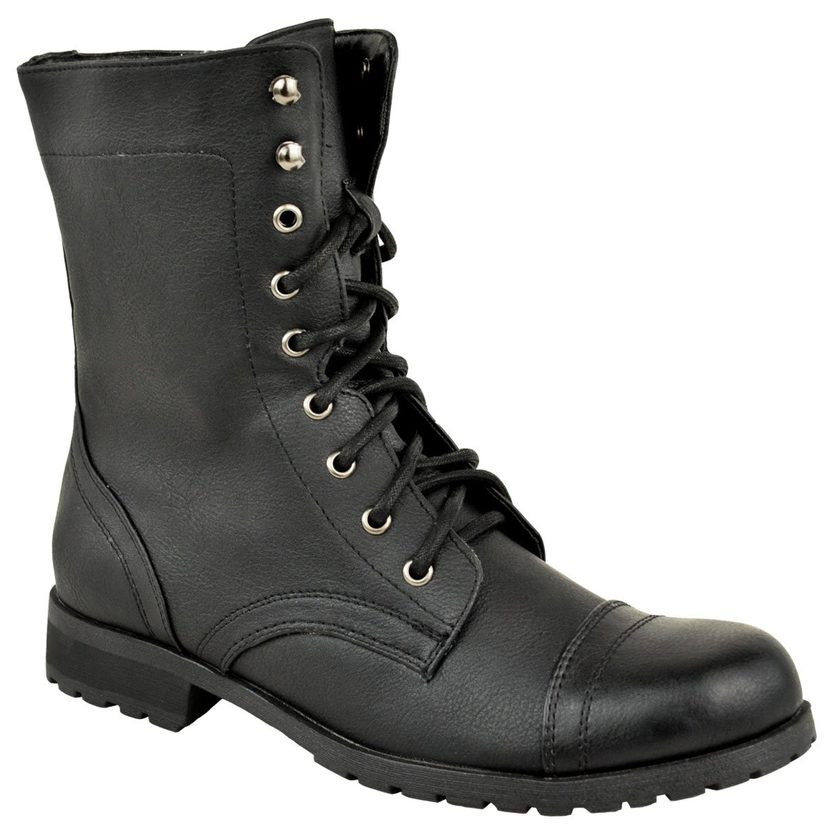Fashion Thirsty Womens Low Heel Flat Lace up Biker Army Military Combat Style Ankle Boots Size 8