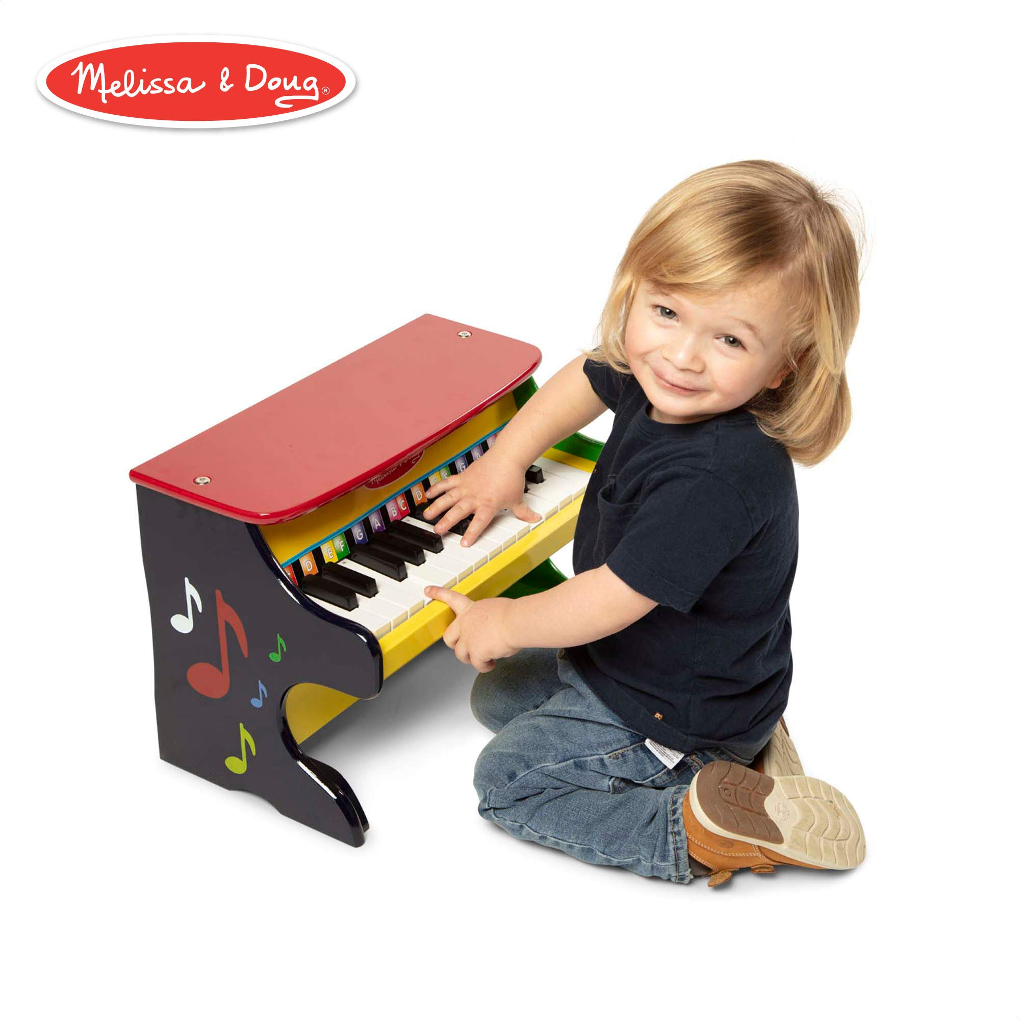 Melissa & Doug Learn-to-Play Piano, Musical Instruments, Solid Wood Construction, 25 Keys and 2 Full Octaves, 11.5'' H x 9.5'' W x 16'' L