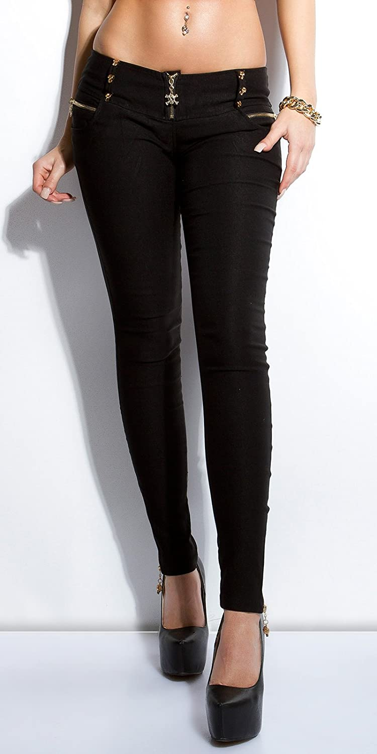 SEXY SKINNY TROUSERS WITH GOLD COLOUR SKULLS.