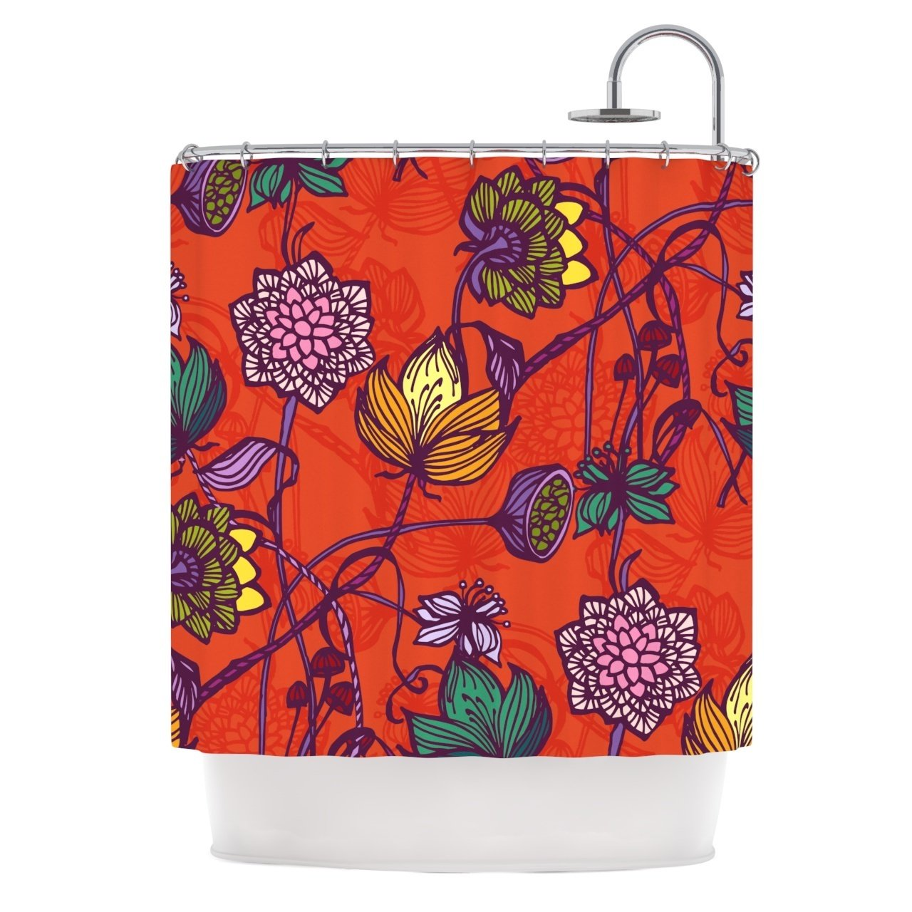 1 Piece 69''x70'' Girls Garden Blooms Flowers Themed Shower Curtain, All Over Stylish Nature Love Bohemian Blossom Floral Print Bathtub Curtain, Abstract Vibrant Colors Orange Pink Purple, Polyester