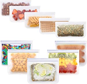 Reusable Sandwich Bags Reusable Snack Bags - HILELIFE 10 Pack Reusable Storage Bags Ziplock Sandwich Bag Freezer Bags Leakproof FDA Grade Reusable Food Storage Bags for Lunch