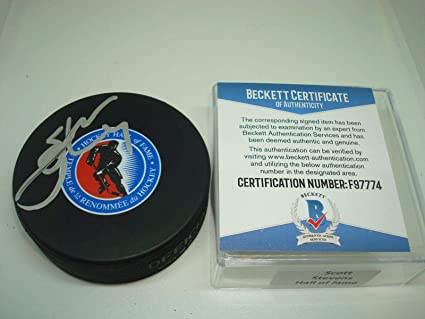 766d99dd Image Unavailable. Image not available for. Color: Scott Stevens Autographed  Puck - Hall of Fame NJ ...