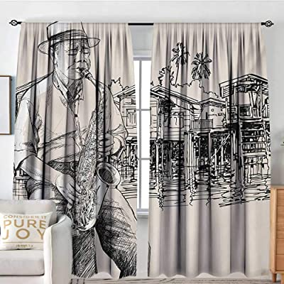 "Rod Pocket Blackout Curtain Jazz Music,Art with Jazz Saxophonist Playing at River Bank Palm Trees Bungalow Reflection,Beige Black,Decor/Room Darkening Window Curtains 120""x96"": Home & Kitchen"
