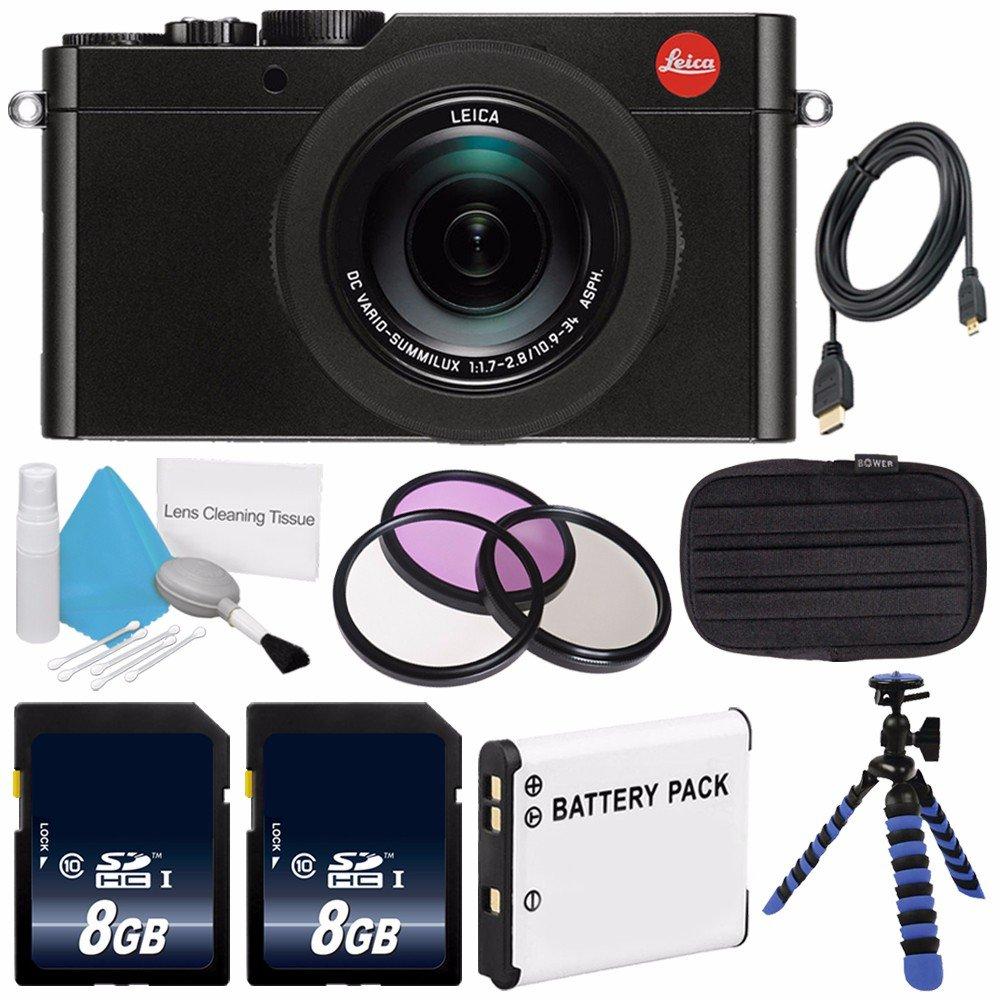 Leica d-lux (Typ 109 )デジタルカメラ(ブラック) (インターナショナルモデル保証なし) + dmw-ble9交換用リチウムイオン電池+柔軟な三脚のグリップハンドルゴム脚+ Mini HDMIケーブルバンドル18   B01ES5PHSW