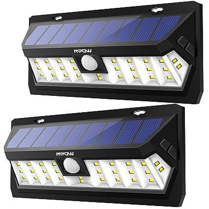 Mpow 30 LED Sensor Solar de Movimiento 2 Modos de Iluminación, Panel Solar de Alto