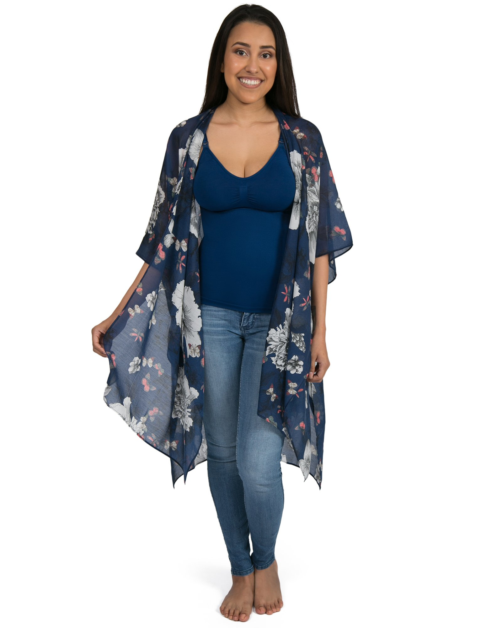 Kindred Bravely Sheer Cardigan Nursing Wrap & Kimono (Blue Floral Print, One Size) by Kindred Bravely