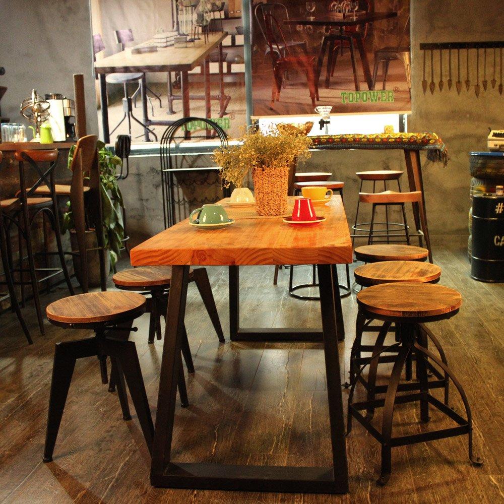 2 Pezzi IKAYAA Sgabelli Industrial 2 Sgabelli da Bar Altezza Regolabile Girevole Cucina Sala Colazione Sedia Naturale Pineta Top Bar Stool
