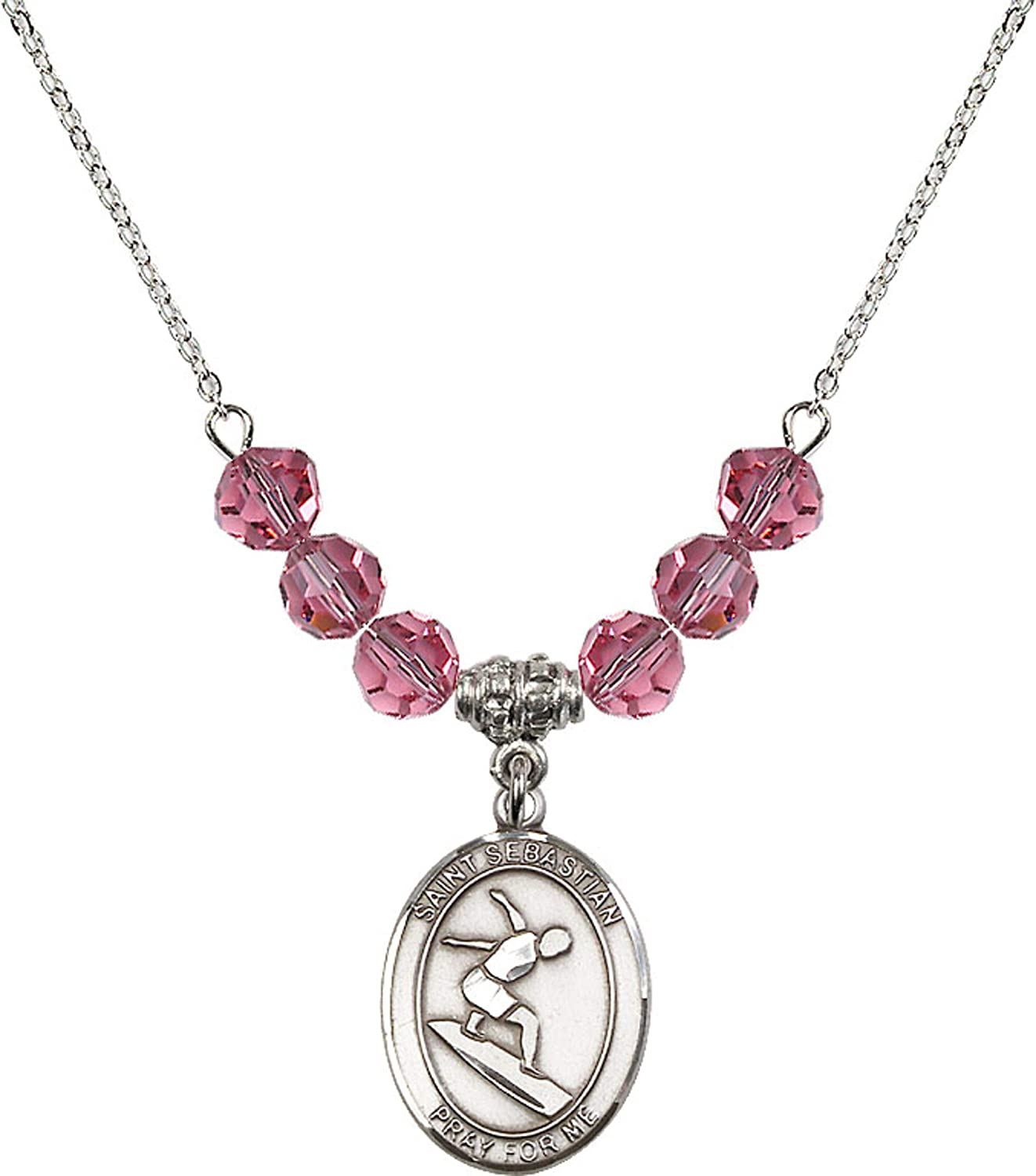 Bonyak Jewelry 18 Inch Rhodium Plated Necklace w// 6mm Rose Pink October Birth Month Stone Beads and Saint Sebastian//Surfing Charm
