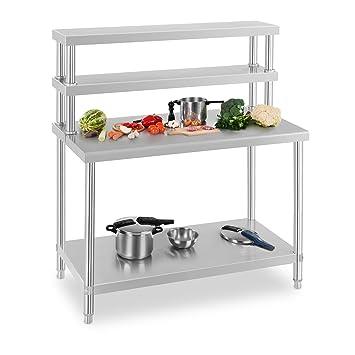 Royal Catering Edelstahl Arbeittisch Küchentisch Aufsatzboard Set ...