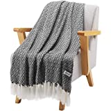 """LANGRIA Geometrical Pattern Wearable Throw Blanket with Tassels Knitted Soft Warm Shawl Lightweight Cozy Wrap for Sofa Coach Bed All-Seasons Blanket Easy Care Machine Washable (50""""x60"""", Diamond Black)"""