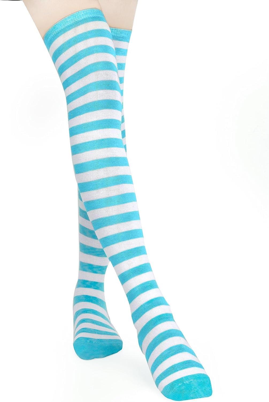 Nero Rosa HBF Calze Donna a Righe Calze al Ginocchio Cosplay Calze Lunghe Elastiche per Donna e Ragazza Azzurro