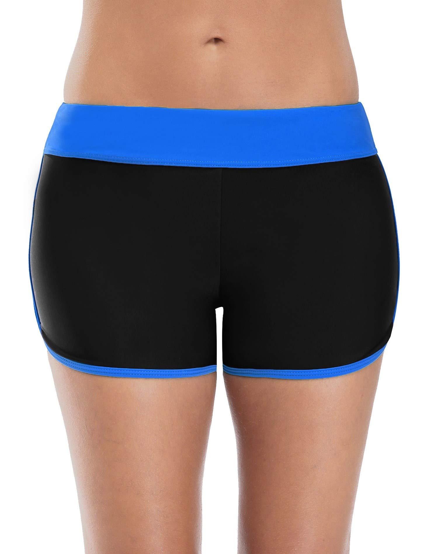 Anwell Womens Beach Board Short Mid Waisted Boyleg Swimsuit Bottoms Black Medium by Anwell