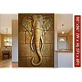999Store 3D Golden Stones and Elephant Head Mural Wallpaper (Non-Wooven_5X8 Feet_Golden)