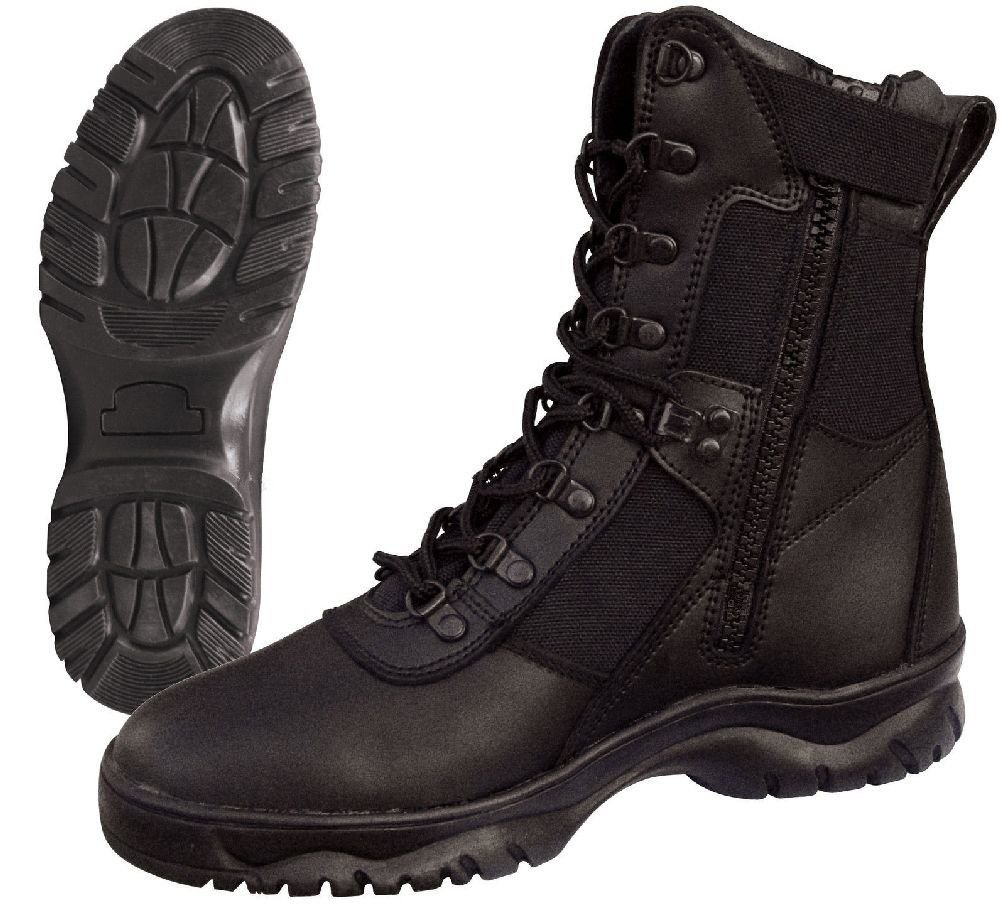 Forced Entry 8'' Black Tactical Boot W/ Side Zipper - Military Police Swat Boots