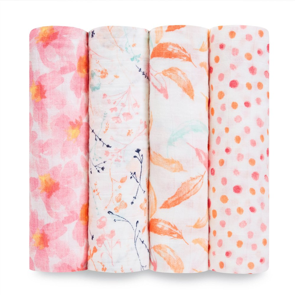 aden + anais Classic 4 Piece Swaddle Baby Blanket, Petal Blooms