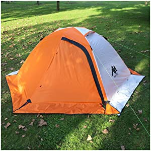 3-4 Season 2 Person Backpacking Tent, Cold Weather 1-2 Man Winter Tent with Snowskirt, AYAMAYA Ultralight Double Layer Waterproof 2 Doors Easy Setup Hiking Camping Tents Outdoor