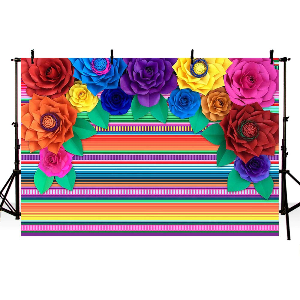 MEHOFOTO 7x5ft Fiesta Theme Party Colorful Stripes Backdrop Cinco De Mayo Mexican Festival Photography Background Paper Flower Decoration Event Table Decor Banner Background Photo Booth Props by MEHOFOTO